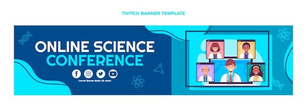 Zuckendes banner der wissenschaftskonferenz im flachen design
