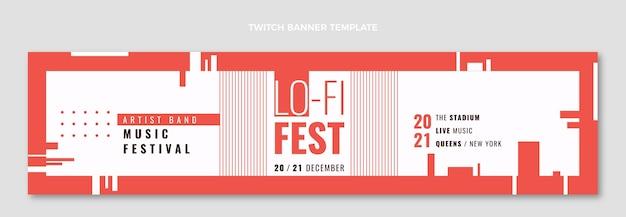 Zuckendes banner des minimalen musikfestivals des flachen designs