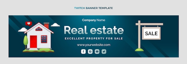 Zuckendes banner für immobilien mit farbverlauf