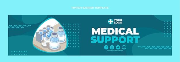Zuckendes banner für medizinische unterstützung im flachen design