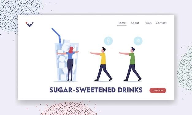 Zucker, konsum, sucht-landing-page-vorlage. winzige charaktere gehen wie ein zombie zu einem riesigen glas mit zuckerwürfeln. menschen, die an einer überdosierung von glukose-essensproblemen leiden. cartoon-vektor-illustration