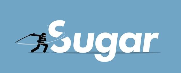 Zucker schneiden für eine gesunde ernährung. kunstwerk konzept des gesunden lebensstils, der ketodiät, des verzehrs von kohlenhydraten und der änderung des lebensstils.