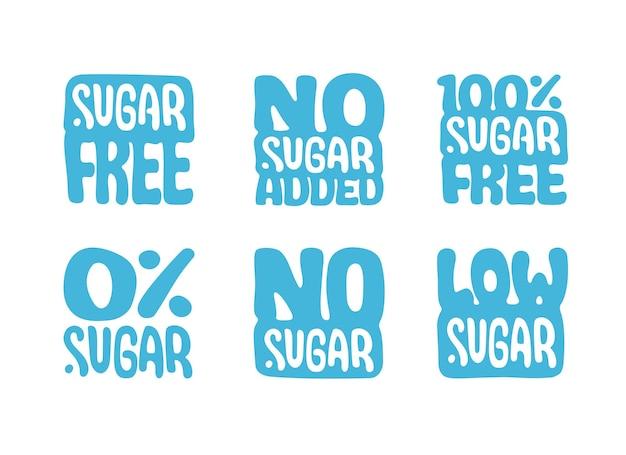 Zuckerfrei no added 100 prozent low sugar isolierte logo-vorlagen für etikettendesign-infografiken