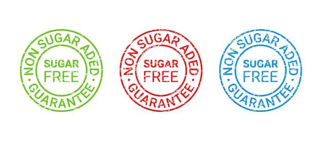 Zuckerfreier stempel. symbol ohne zuckerzusatz. vektor-illustration.