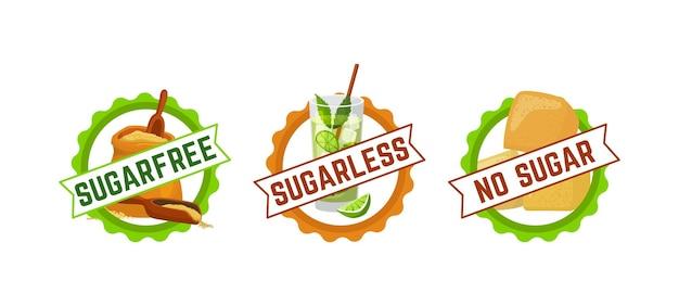 Zuckerfreies zeichensymbol, vektorillustration. grafisches logo für gesundes produktetikettenset, organischer natürlicher nahrungsbestandteil. weniger, kein zuckerabzeichen f