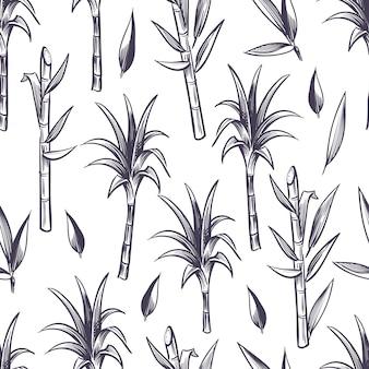Zuckerrohrstiele mit blättern, nahtloses muster der zuckerrohrpflanze