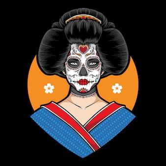 Zuckerschädel-geisha-illustration