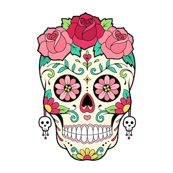 Zuckerschädel tag des tages maske mit rosenblütenillustration