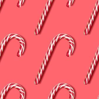Zuckerstange - nahtloses muster, ein symbol von weihnachten. festliche tapete