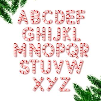 Zuckerstangen-weihnachtsalphabet gesetzt