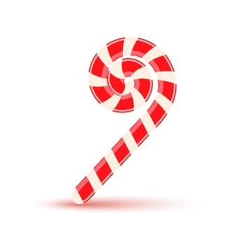 Zuckerstock, weihnachtssüßigkeit lokalisiert auf einem weißen hintergrund.