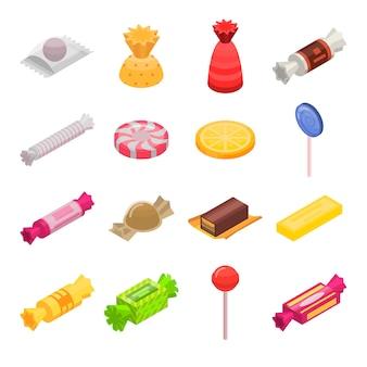 Zuckersüßigkeit-ikonensatz. isometrischer satz zuckersüßigkeitsvektorikonen für das webdesign lokalisiert auf weißem hintergrund