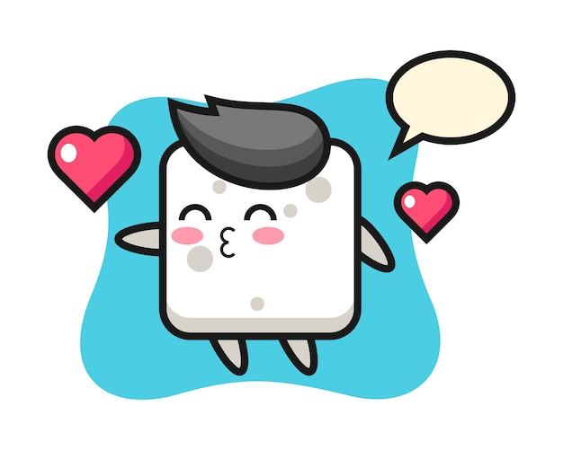 Zuckerwürfel-charakter-karikatur mit kussgeste, niedlicher stil für t-shirt, aufkleber, logoelement