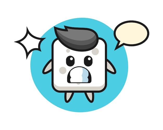 Zuckerwürfel-charakter-karikatur mit schockierter geste, niedlicher stil für t-shirt, aufkleber, logoelement