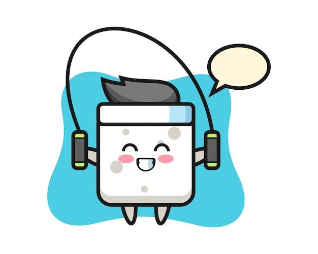 Zuckerwürfel-charakter-karikatur mit springseil, niedlicher stil für t-shirt, aufkleber, logoelement