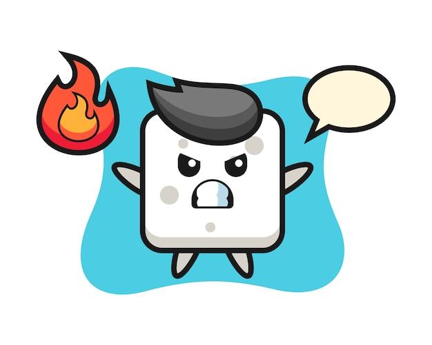 Zuckerwürfel-charakter-karikatur mit verärgerter geste, niedlicher stil für t-shirt, aufkleber, logoelement