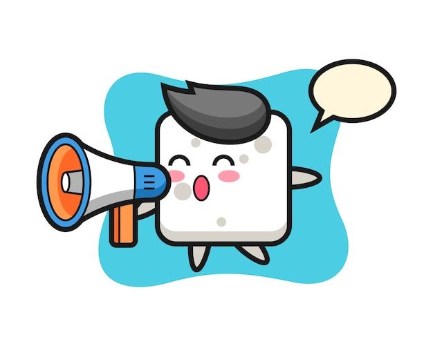 Zuckerwürfel-charakterillustration, die ein megaphon, niedlichen stil für t-shirt, aufkleber, logoelement hält