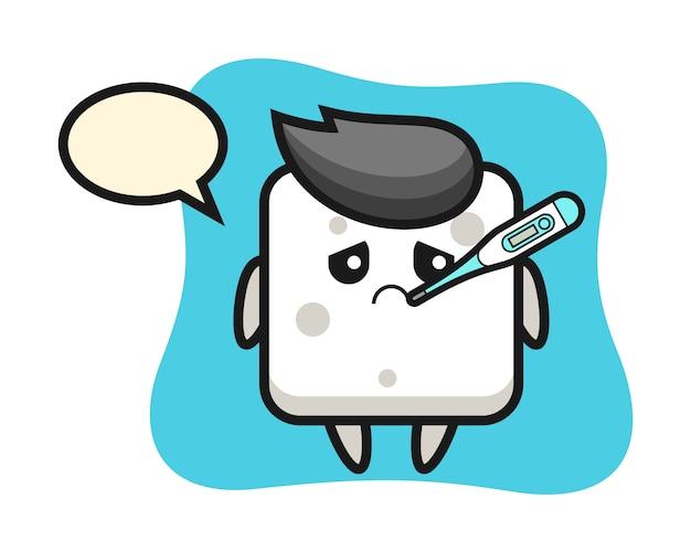 Zuckerwürfel maskottchen charakter mit fieber zustand, niedlichen stil für t-shirt, aufkleber, logo-element