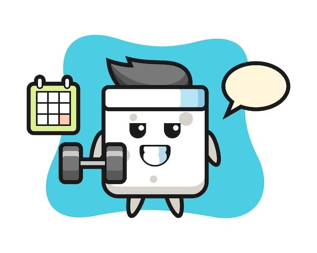 Zuckerwürfel-maskottchen-karikatur, die fitness mit hantel, niedlichen stil für t-shirt, aufkleber, logoelement tut