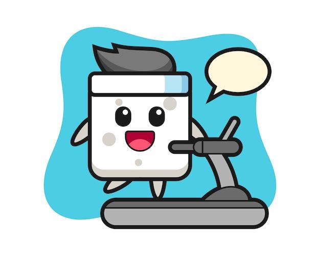 Zuckerwürfel-zeichentrickfigur, die auf dem laufband geht, niedlicher stil für t-shirt, aufkleber, logoelement