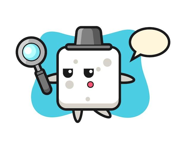 Zuckerwürfel-zeichentrickfigur, die mit einer lupe sucht, niedlicher stil für t-shirt, aufkleber, logoelement