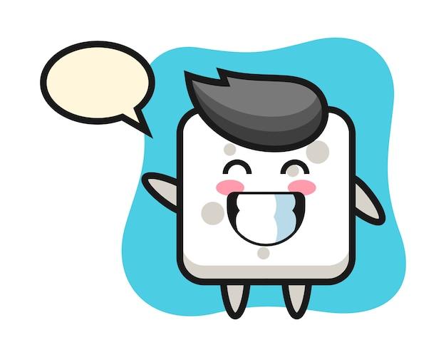 Zuckerwürfel-zeichentrickfigur, die wellenhandgeste tut, niedlichen stil für t-shirt, aufkleber, logoelement
