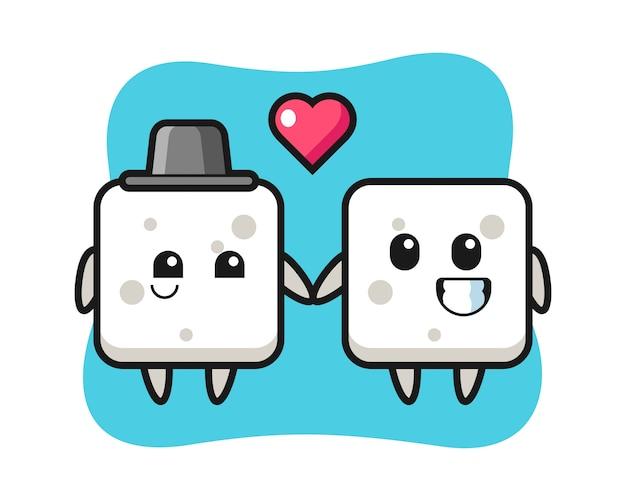 Zuckerwürfel-zeichentrickfigurenpaar mit verliebter geste, niedlicher stil für t-shirt, aufkleber, logoelement
