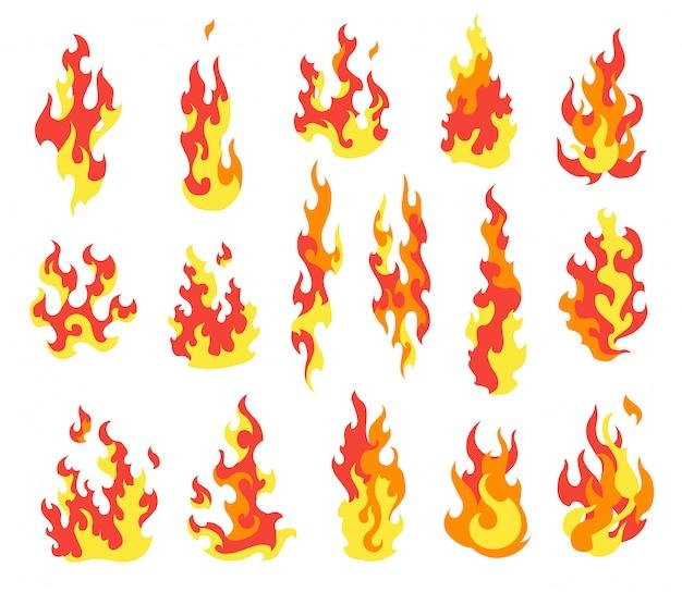 Zünde feuer an. karikatursammlung der abstrakten stilisierten feuer. flammende illustration. komische gefährliche flamme feuert isolierten vektor ab. heißes malen