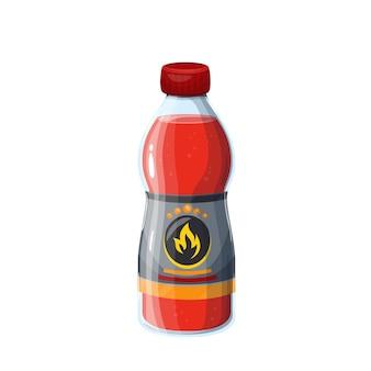 Zündflüssigkeitsflasche für brennholz- oder kohlenillustration.
