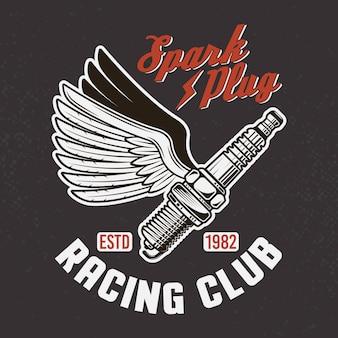 Zündkerze mit flügeln auf dunklem hintergrund und grunge-textur. vintage emblem des rennclubs