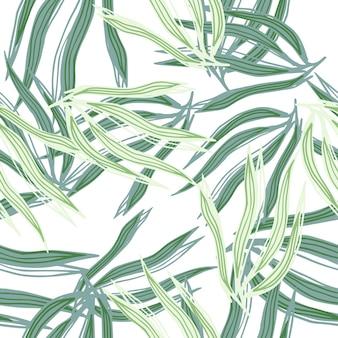 Zufällige abstrakte algen nahtlose muster auf weißem hintergrund. unterwasser-laub-hintergrund. meerespflanzen tapete. design für stoff, textildruck, verpackung, abdeckung. vektor-illustration.
