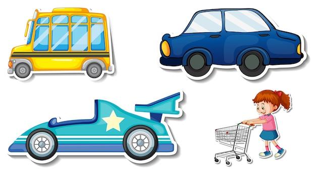 Zufällige aufkleber mit transportablen fahrzeugobjekten