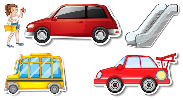 Zufällige aufkleber mit transportablen fahrzeugobjekten Kostenlosen Vektoren