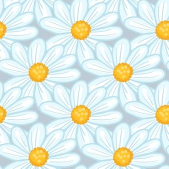 Zufällige blaue konturierte daisy flower silhouetten nahtlose muster. vektordesign für textilien, stoffe, geschenkpapier, tapeten.
