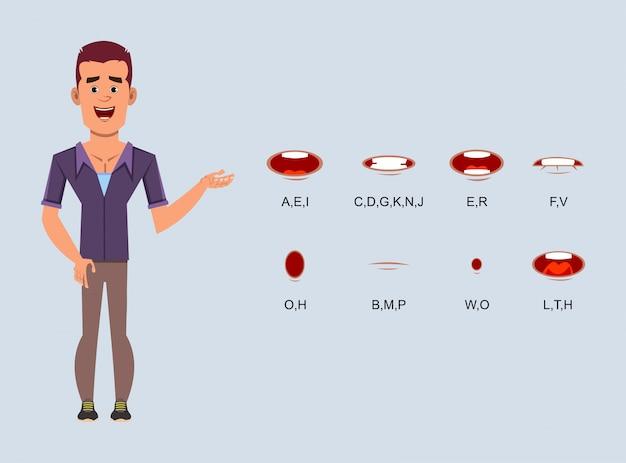 Zufällige geschäftsmannzeichentrickfilm-figur mit unterschiedlicher lippensynchronisation für design, bewegung oder animation