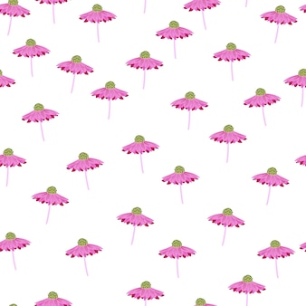 Zufällige isolierte lila gerbera-blumen-elemente nahtlose doodle-muster