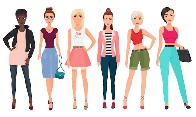 Zufällige mode für schöne weibliche frau auf weiß
