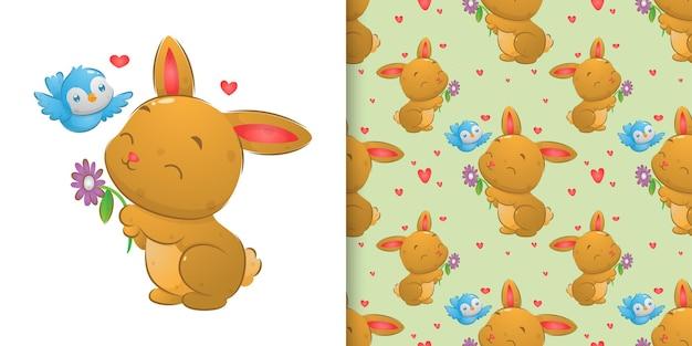 Zufällige nahtlose illustration des glücklichen kaninchens, das mit dem vogel spielt