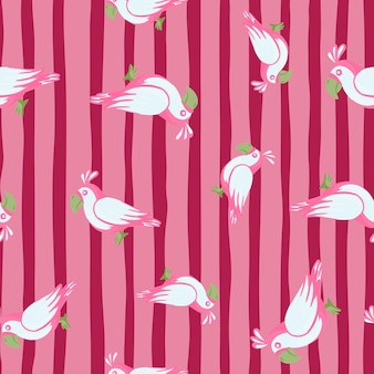 Zufällige papagei vogel ornament nahtlose doodle-muster. rosa gestreifter hintergrund. einfacher lustiger stil. entworfen für stoffdesign, textildruck, verpackung, abdeckung. vektor-illustration.