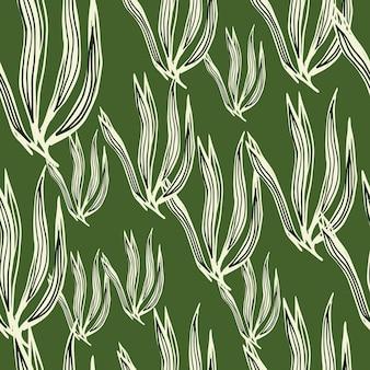 Zufällige retro-algen nahtlose muster auf grünem hintergrund. unterwasser-laub-hintergrund. meerespflanzen tapete. design für stoff, textildruck, verpackung, abdeckung. vektor-illustration.