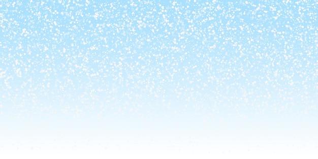 Zufällige weiße punkte weihnachtshintergrund. subtile fliegende schneeflocken und sterne auf nachthimmelhintergrund. entzückende winter-silber-schneeflocken-overlay-vorlage. wunderschöne vektor-illustration.