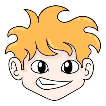 Zufälliger blonder jungenkopf, vektorillustrationskarton-emoticon. gekritzelsymbol-zeichnung