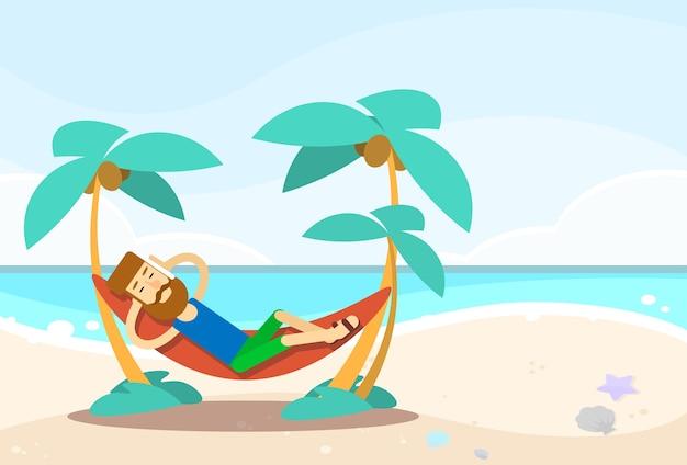 Zufälliger mann, der in der hängematten-meerblick-strand-ferien liegt