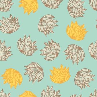Zufälliges buschblatt nahtloses gekritzelmuster. hellblauer hintergrund mit gelb und braun konturiertem laub.