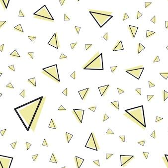 Zufälliges dreiecksmuster im 80er, 90er retro-stil. abstrakter geometrischer hintergrund