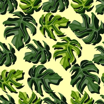 Zufälliges helles botanisches nahtloses monstermuster. exotische grüne blätter auf hellgelbem hintergrund. ideal für tapeten, textilien, geschenkpapier, stoffdruck. illustration.