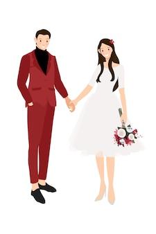 Zufälliges hochzeitspaarhändchenhalten in der roten flachen art des anzugs und des kleides