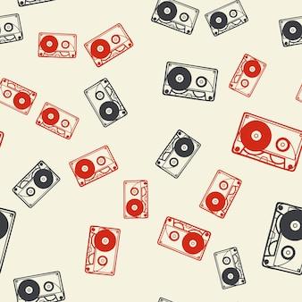 Zufälliges kassettenmuster, musikillustration. kreatives und luxuriöses cover