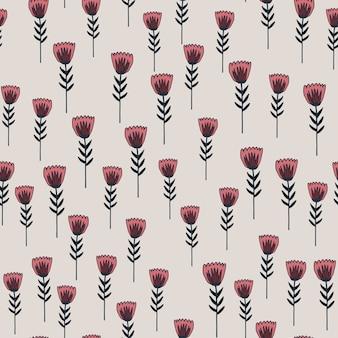 Zufälliges nahtloses frühlingsmuster mit grün konturierten blumenformen und rosa elementen. heller pastellhintergrund. dekorativer hintergrund für tapeten, geschenkpapier, textildruck, stoff.