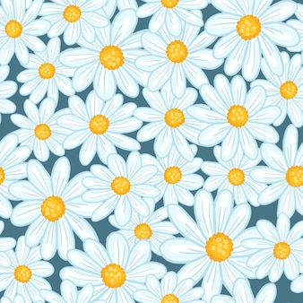 Zufälliges nahtloses muster mit von hand gezeichneten hellblauen gänseblümchenblumen des gekritzels